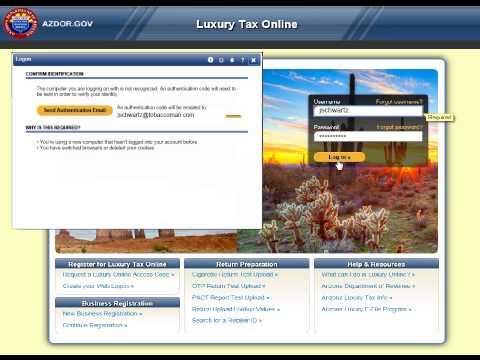 Arizona Luxury Tax Online - Making an Online Payment