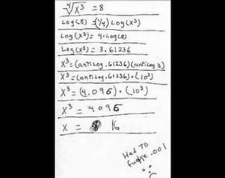 x^(3/4) = 8 using log / antilog