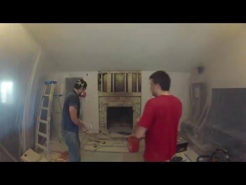 DIY Fireplace Remodel Timelapse (Day 1 of 6) - Demolition