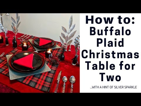 Thrift Store - Buffalo Plaid with a Touch of Silver Sparkle - Christmas Table for Two