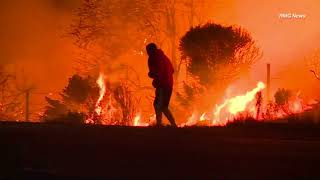 Raw video: Man rescues rabbit from raging California wildfire