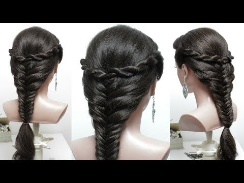 Cute And Easy Hairstyle For Long Hair Tutorial. Fishtail Braid With Twists.