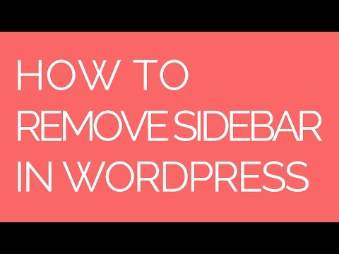 How to remove sidebar in wordpress