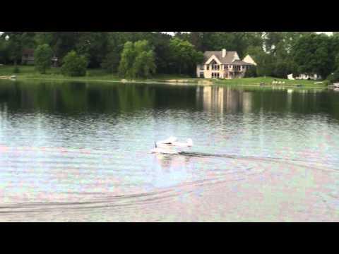 Hobbyzone Super Cub Flight With Custom Water Rudder.mpg
