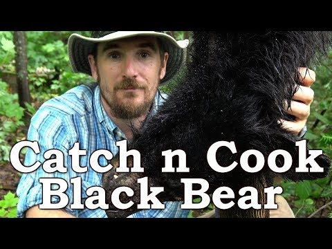 Catch n Cook BLACK BEAR!!!   BEYOND SURVIVAL   The Wilderness Living Challenge 2017   S02E06