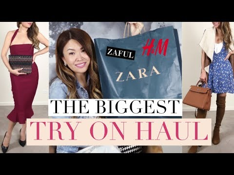 MASSIVE TRY ON HAUL! 13 OUTFITS STYLED WITH DESIGNER BAGS   ft ZARA, H&M, ZAFUL
