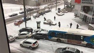 Snow Causes Multi-Vehicle Pileup in Canada