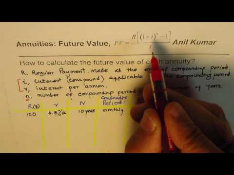 How to calculate Future Value of Annuity for different Compounding periods