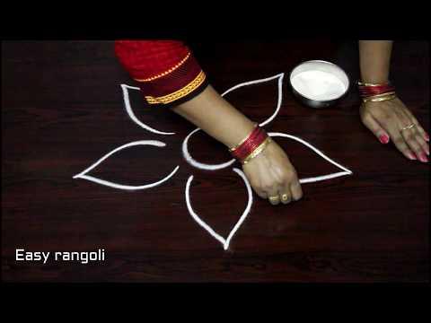 how to draw beautiful flower rangoli designs with out dots *easy muggulu  * simple kolam *rangavalli