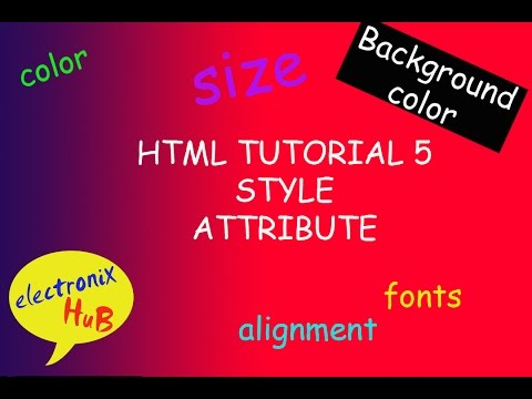 html Tutorial 5 - style attribute background color, color, font family,size and text align
