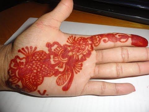A Beautiful Henna Mehndi Hand Tattoo Design (drawn from start to finish).