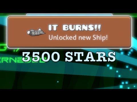 Geometry dash reaching 3500 stars!! (getting my favorite ship)