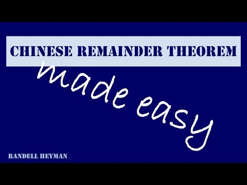 The Chinese Remainder Theorem made easy
