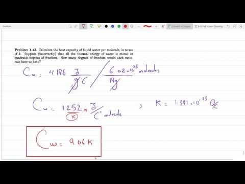 Calculate the heat capacity of liquid water per molecule, in terms of Boltzmann's constant P 1-43