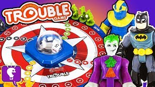 Batman Plays TROUBLE Game! Avengers: THANOS Story by HobbyKidsTV