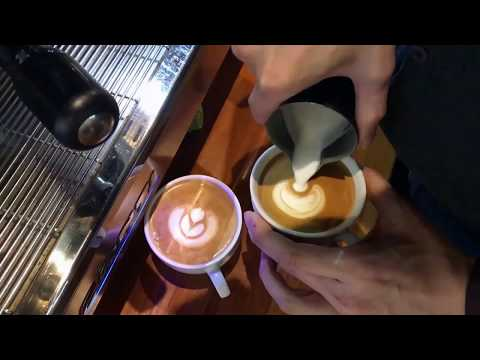 Latte Art - How to control your milk flow (touch the coffee) in HD.1080p