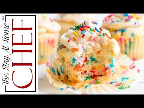 How to Make Funfetti Birthday Cupcakes | The Stay At Home Chef