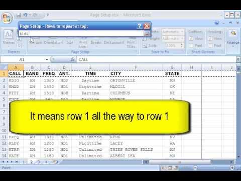 Excel 2007 Lesson 9 Page Setup