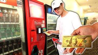 USING FAKE MONEY IN VENDING MACHINE HACK!
