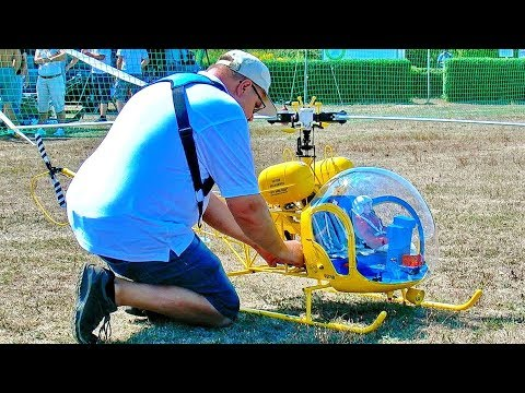 BELL-47G BIG RC VARIO SCALE ELECTRIC MODEL HELICOPTER FLIGHT DEMONSTRATION
