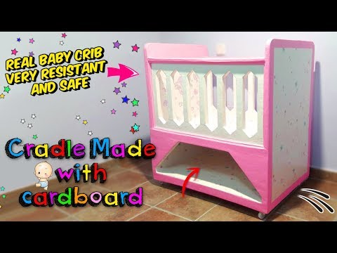 Amazing crafts! How to make a REAL BABY CRIB only with cardboard