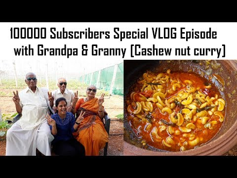 100000 Subscribers Special Vlog with GRANDPA&GRANNY - Cashew nut Curry