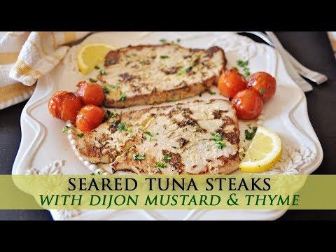 Seared Tuna Steaks with Mustard & Thyme