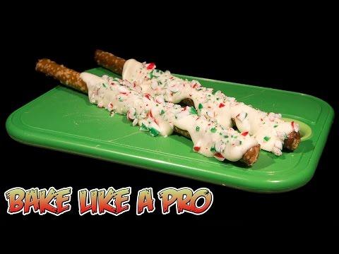 White Chocolate Candy Cane Pretzel Rods Recipe SHORT VERSION