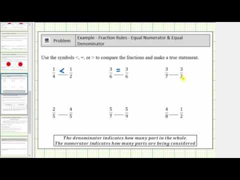 Comparing Fractions with the Same Numerators Or Same Denominators - No LCD (B)