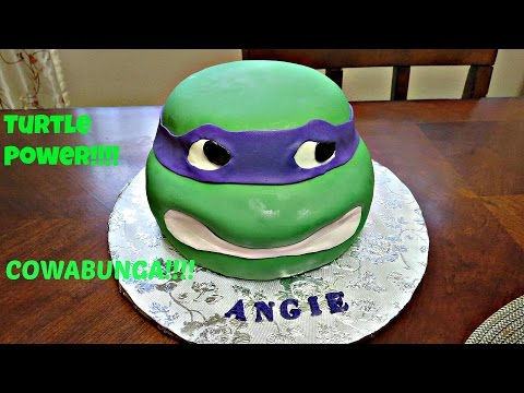 How to decorate a 3D Ninja Turtle Head Fondant Cake