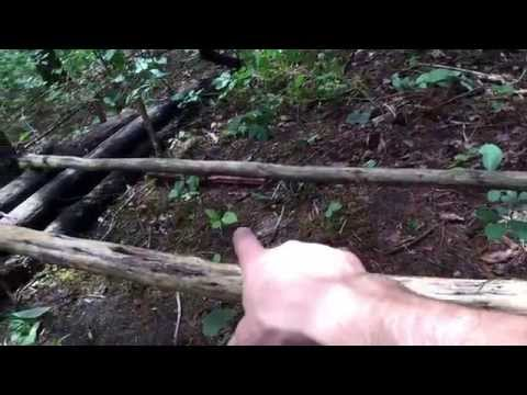 Primitive shelter - Lean-to, raised bed and fire reflector. step by step.