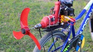 Homemade air bike using Drill