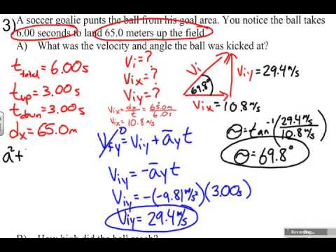 Projectile Motion Sample Problem   Hang Time and Range Given