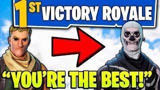 MAKING A KIDS DAY ON FORTNITE!!! - (BUYING FIRST *NEW* FORTNITE SKIN & HELPING WIN FIRST GAME!)