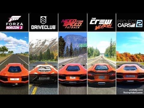 NFS Payback vs. Forza Horizon 3 vs. DriveClub vs. The Crew vs. Project CARS 2   Aventador Comparison