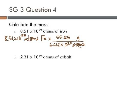 10 SG3 #4 Calculate mass from number of atoms