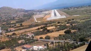 AMAZING B737 onboard cockpit video of landing in EXTREME crosswind at Samos.