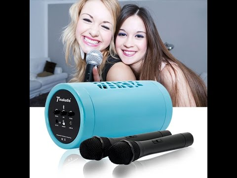 Portable Bluetooth Rechargeable Karaoke Party Speaker System with 2 Wireless Microphones