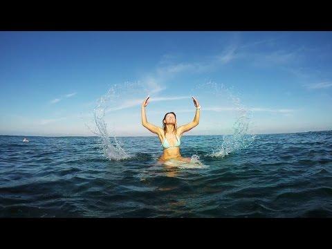 Cute blonde surf girl getting fun in Bali