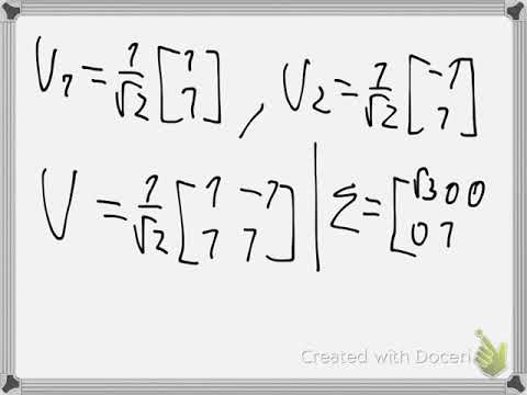 Singular Value Decomposition Example 1