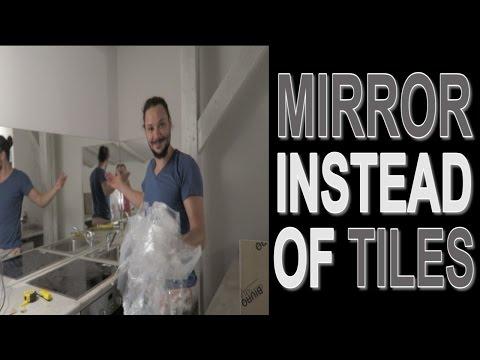 DIY MIRROR INSTEAD OF TILES!
