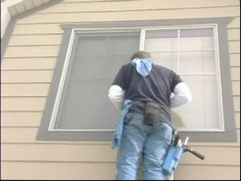 How to Wash Windows : Washing Windows from a Ladder