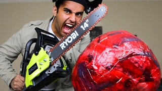 EXPERIMENT!! 1000 degree CHAINSAW VS GIANT FRUIT ROLL-UP BALL (Ft. Fruit By The Foot Mummy!!)
