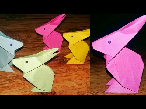 diy : easy paper origami craft | paper rabbit | art and craft ideas | be crafty