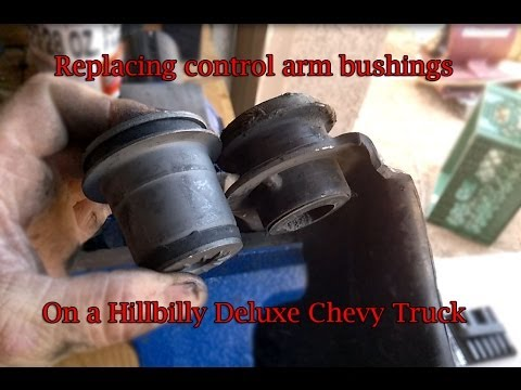 Replacing upper control arm bushings and brake rotors on a Hillbilly Deluxe Chevy Truck
