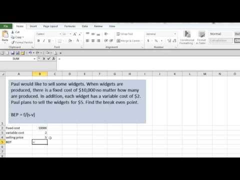 Break-Even Point in Excel
