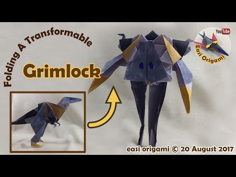 How to make a Papercraft, Origami Grimlock (requires 3 straight cuts)