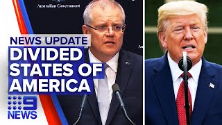 Military will be deployed to stop riots, Donald Trump calls Scott Morrison   Nine News Australia