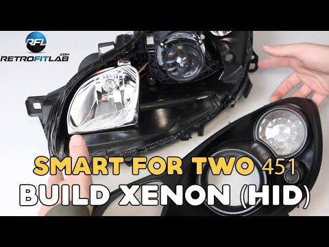 Smart ForTwo 451, 2007-2014 how to build xenon (HID) in your headlight. DIY