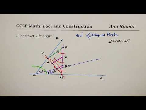 Construct 20 degree Angle Divide Segment With Reasoning GSCE Math